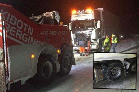 Flere vogntog satte seg fast og sperret E8 i Skibotndalen natt til onsdag. Foto: Statens vegvesen