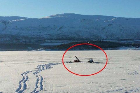 Her for Jan Robert Holsmo og kona gjennom isen med skuteren. Foto: Privat. På bildet ser du skuteren før den sank.