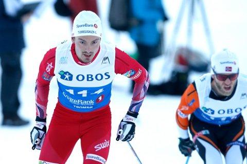 Tromsø  20160128. NM ski 15 km klassisk herrer. Finn-Hågen Krogh (tv) på 15 km klassisk. Foto: Terje Pedersen / NTB scanpix