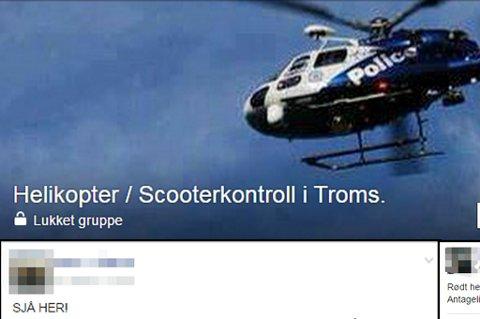 VARSLER: I ei lukket gruppe på Facebook varsles det om skuterkontroller i fylket og resten av landsdelen. Mange melder for eksempel fra om observasjoner av helikopter.