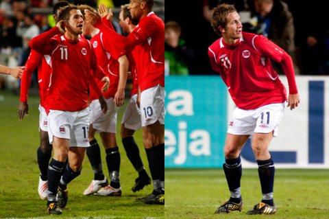 Slik gestikulerte Morten Gamst Pedersen mot publikum da han ble matchvinner i 3-2-kampen mot Finland på Ullevaal i 2009, sist finnene besøkte arenaen.