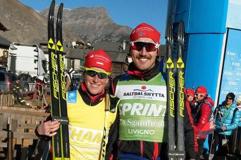 Den grønne trøya som beste spurter underveis i løpene i Ski Classics er sikret denne sesongen for Andreas Nygaard (t.h.). Søndag hadde han sjansen til å kunne vinne Vasaloppet, men hadde ingen spurtkrefter igjen. Her ved en tidligere anledning med Katerina Smutna, som vant kvinneklassen i Vasaloppet søndag.