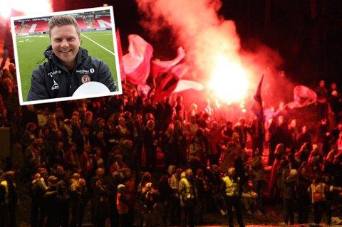 Lyns supporterklubb «Bastionen» feirer opprykk fra 6.divisjon i 2010. Det er et av mange gode minner som Lars Petter Andressen har fra tiden i Lyn.