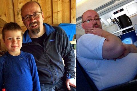 TOK GREP: Håvard Pedersen veide 131 kilo i 2011, så tok han grep og forandret livsstilen. Nå har han fått et et helt nytt liv. Til venstre sammen med sønnen, Mathias, som har vært hans motivasjon. Til høyre er Håvard før han la om livssstilen. Foto: Privat