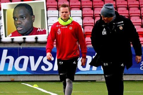 Manuell terapeut Einar Hauglid (t.h) friskmelder Aron Sigurdarsson og Christian Landu Landu foran kampen mot Vålerenga.