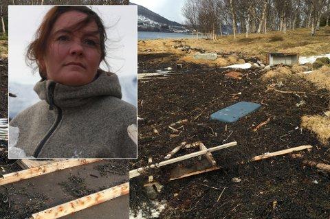 Renate Hansen er sjokkert over hvor søppel og rask som er i fjæra i Lyngen.