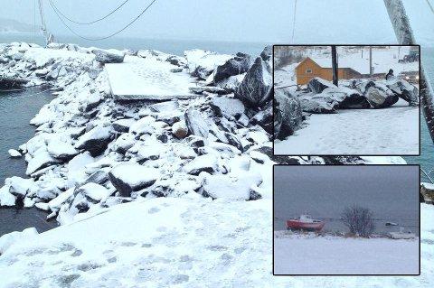 RASERT: Slik så moloen i småbåthavna på Ånstad ut etter ekstremværet i fjor vinter.