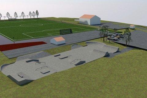Slik skal parken se ut når den er ferdig. Illustrasjon: Blåmann Skatepark