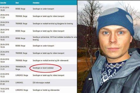 PÅ TUR: Den 25. apirl skulle pakken ifølge loggen være levert til Nergaard. Det var den ikke. Så startet en rundttur mellom Tromsø og Bodø. Foto: Privat/skjerdump Postnord