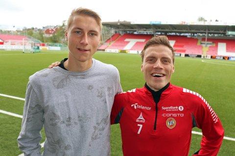 Ulrik Yttergård Jenssen (t.v) og Ruben Yttergård Jenssen (t.h) på Alfheim tirsdag.