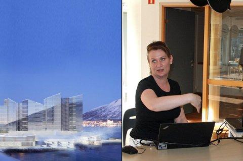 Salgsansvarlig Ingvild Bratterud viste frem boligprosjekter til nysgjerrige i Skippergata fredag kveld.