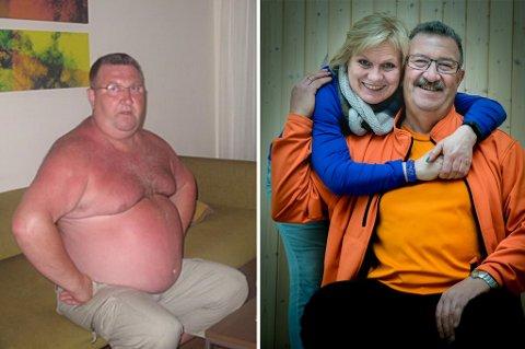 PRESSET AV KONA: Karin Olsen maste støtt og stødig på mannen Torgeir Kristiansen at han måtte gjøre noe med overvekten. Før jul i fjor slo han til med et trenings- og kostholdkurs for overvektige. Nå er over 50 kilo  forsvunnet fra Torgeirs kropp. Foto: Privat/Torgrim Rath Olsen