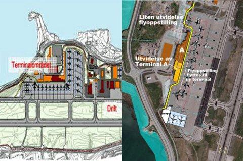 Illustrasjonen til venstre viser hvordan flyplassen skal utvides på sikt. Da vil det bli bygget en L-formet terminal ut mot vest. Til høyre viser hvordan flyplassen er tenkt å bli etter den første utvidelsen. Foto: Avinor