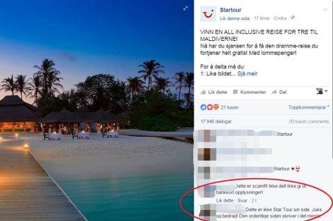 Slik ser konkurransen om Maldivene-tur ut. Enkelte har gitt beskjed i kommentarfeltet at det er snakk om et svindelforsøk. Foto: Skjermdump