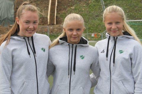 JENTER MED AMBISJONER: Vilde Bratland (f.v.), Celine Nergård og Sandra Simonsen har ambisjoner med fotballen.