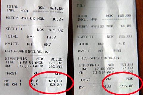 DYR TUR: Taxiregninga hjem (t.v.) blir på 421 kroner når Tromsøbrua er stengt, mens regninga (t.h.) normalt er på 155 kroner.