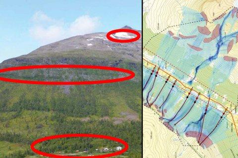 RASOMRÅDE:  Her er Blåbærtinden over vestre del av Tamokdalen. Tunet på Olsrud ses sentralt i bildet. Løsneområder for kjente snøskred omtrentlig angitt, øverst den store snøskredhendelsen fra 2000 og det nederst hendelsen fra 1952, ifølge NVE.