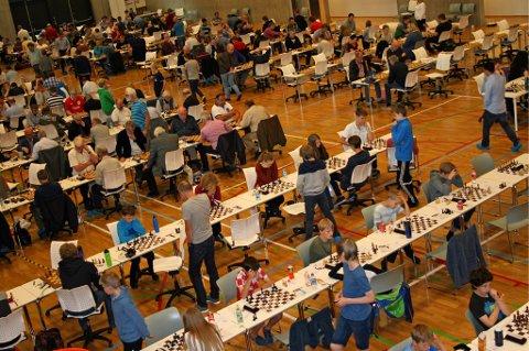 FRA MINIPUTT TIL ELITE: For første gang arrangeres Norgesmesterskapet i sjakk i Tromsø. Gymsalen på Tromstun skole er fullsatt av sjakkspillere i alle aldre.