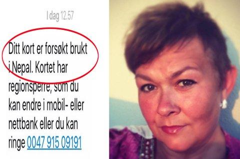 FIKK SJOKK: Vibeke Rørbakk fra Tromsø ante fred og ingen fare da denne sms-en plutselig tikket inn fra banken hennes. Foto: Privat