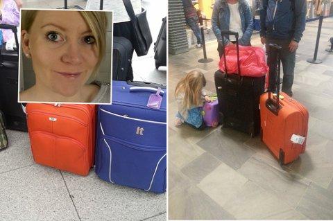 BAGASJEKRØLL: Dette var koffertene til reisefølget til Catrine Emilie Trygstad som forsvant i løpet av tur-retur Tromsø-Billund med SAS. Hun fortalte opprinnelig om hendelsen på Facbook. Foto: Privat