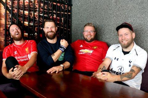 Denne kompisgjengen kan nesten ikke vente til den nye Premier League-sesongen sparkes i gang lørdag. F.v. Jonas Sørensen (Liverpool), Karl-Harald Bruun (Everton), Reidar Stenersen jr. (Manchester United) og Magnus Utvåg (Tottenham).