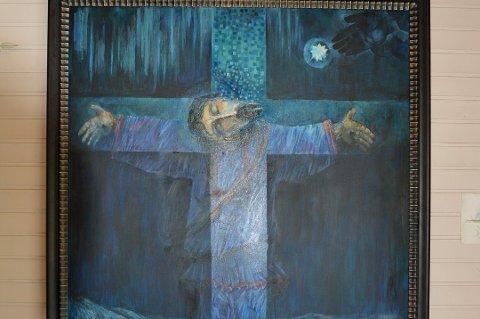OMSTRIDT: Bildet av Jesus og en mann i samekofte har skapt reaksjoner i Porsanger i flere år. Nå har eieren av Stabbursdalen Resort valgt å ta ned maleriet, som er laget av den russiske kunstneren Igor Filippov.