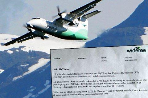 BREV: Dette brevet kom i posten til en tidligere pilot i Widerøe etter at han hadde vært på flytur med konkurrenten FlyViking. Selv mener mannen at det er en trussel. Widerøe er ikke enig i den karakteristikken.
