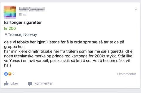 Denne meldingen ble lagt ut en kjøp-salg-gruppe for Tromsø på Facebook. Skjermdump: Facebook.com