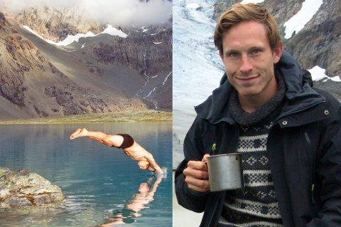 Andreas Orset (23) har det mange vil betegne som drømmejobben. Han er profesjonell skotester, og får betalt for å gå på fjelltur. Foto: Andreas Orset