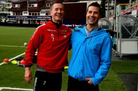 Knoll og Tott var igjen samlet på Alfheim tirsdag. Lars Iver Strand er hjemme på ferie i Tromsø, og tok turen innom for å hilse på gamle kjente, blant annet Morten Gamst Pedersen.