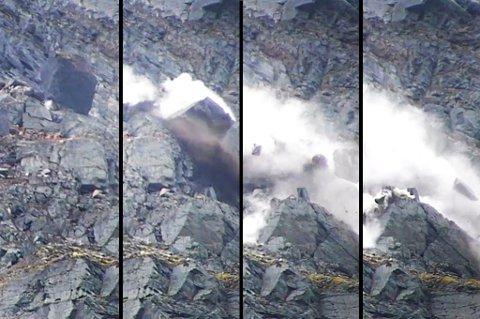 Her løsner steinblokka og raser nedover fjellsiden av Oksfjellet. Foto: Fjellskredseksjonen i NVE.