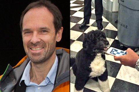 PÅ MØTE: Direktør ved Norsk Polarinstitutt, Jan-Gunnar Winther, deltok på et møte i Det hvite hus om klima i Arktis. Der møtte han hunden til president Obama. Foto: Privat/arkivfoto