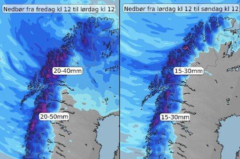 VÅTT: Det blir en svært våt helg. Foto: Meteorologene på Twitter.