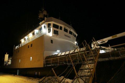 """OMBYGD: Den 68 meter lange fiskebåten """"Tromsbas"""" har gjennomgått totalrenovering i Polen de siste to årene. Nå er den klar for snøkrabbe-fiske i Barentshavet."""