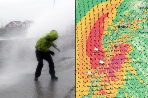 KRAFTIGST PÅ KVELDEN: Onsdag kveld kommer uværet inn over Troms. Til venstre et bilde fra orkanen Ole for to år siden.