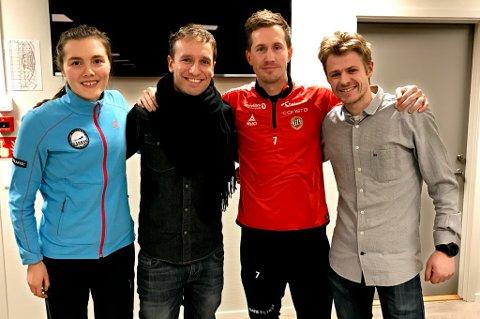Disse fire var blant deltakerne på Olympiatoppens utøversamling onsdag. F.v. Yngvild Kaspersen (løper), Jørn-Bjørn Fuller-Gee (skuespiller, HT), Morten Gamst Pedersen (TIL-spiller) og Brynjar Lien Schulerud (NOSO).