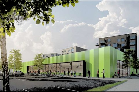 FERDIGE PLANER: Slik blir Norgesgruppens nye butikk i Strandveien 108. Sør for butikken kommer tre blokker med maksimalt 110 boliger.