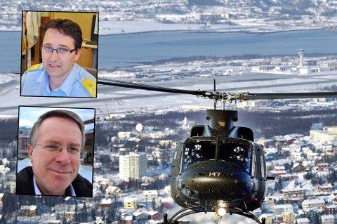 Fylkesmannen i Troms og politimester Ole B. Sæverud frykter flytting av 339-skvadronen på Bardufoss får store konskevenser. På bildet er et helikopter fra 339-skvadronen over Tromsø.