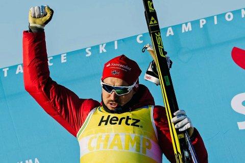 VANT: Andreas Nyggard jubler for seier i Vasaloppet China natt til onsdag.