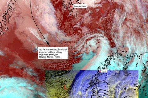 Lavtrykket øst for Svalbard sender kaldluft og nedbør inn over Nord-Norge de neste dagene.