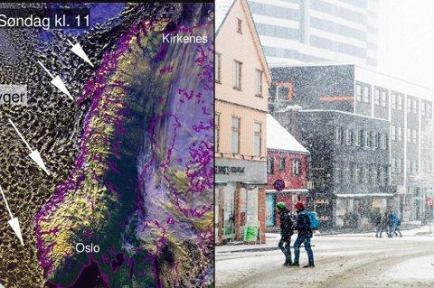 SNØBYGER I KØ: Snøbygene lå i kø i havet søndag morgen. Også mandag vil det snø. Foto: Yr/Yngve Olsen