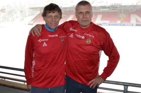 NY MANN INN: Trond Nordsteien (t.v.) har bakgrunn fra blant annet Rosenborg, Ranheim og Trondheims-Ørn. Nå får han den nye stillingen som trenerutvikler for TILs utviklingsavdeling, som ledes av Truls Jenssen.