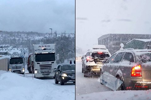KØER: Bildet til venstre viser lastebiler som har fått problemer i Hamna. Bildet til høyre står trafikken nordover langs Stakkevollveien klokken 08.30.