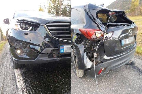 TOTALVRAK: Stålvaieren har skåret seg gjennom bilen på høyre side, før den hektet seg fast i chassiet bak.