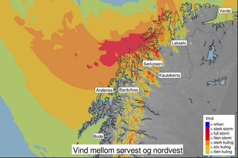 STORM PÅ VEI: Det første lavtrykket kommer natt til torsdag og fører med seg regn og svært kraftig vind. Også på fredag og søndag vil Nord-Norge og Troms bil truffet av lavtrykk.