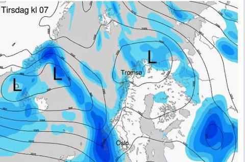 VENTER NEDBØR: Det ligger flere lavtrykk i havet og disse vil føre til nedbør og gråvær i Troms de neste dagene.