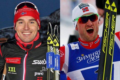 VIL HA DUELL: Andreas Nygaard (t.v.) slår fast at han ikke vil få ligge rolig i grava før han har vunnet Vasaloppet. Til vinteren har han offentlig gått ut og utfordret Petter Northug (t.h.) til en duell i det ni mil lange rennet i Sverige.