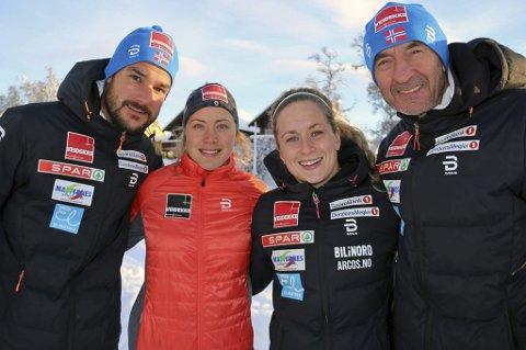 FORNØYD: Team Nord-Norge-trener Kristian Skogstad (t.v) var fornøyd med totalen under den nasjonale langrennsåpningen på Beitostølen. Her med (f.v) Merete Myrseth (som droppet skiåpningen på grunn av møte med Donald Trump med sin gamle skole i USA), Anna Svendsen og trener Jan Lindvall.