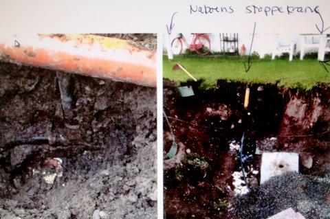 Dette er bildene som ifølge klageren beviser feilen som er gjort med den nye vannledninga.