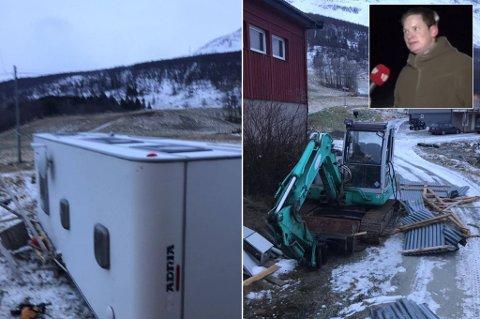 SLAGMARK: Verken campingvogna eller garasjetaket klarte å stå imot kreftene til Ylva. Gårdbruker Peter Lakselvnes har fått store skader på eiendommen sin i Lakselvbukt. Foto: Privat/NordlysTV